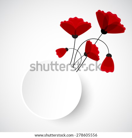 Abstract nature background. Red poppy flowers. Vector - stock vector