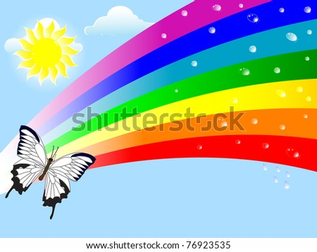 Abstract nature background with a rainbow and drops. Vector. - stock vector