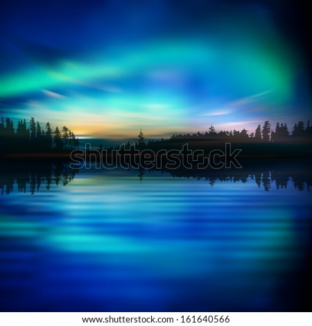 abstract nature background with lake forest and aurora borealis - stock vector