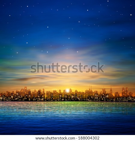 abstract nature background with panorama of city and golden clouds - stock vector