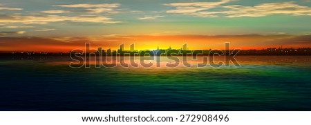 abstract nature background with panorama of city and sunrise - stock vector