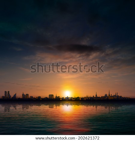 abstract nature background with panorama of city dark clouds and sunset - stock vector
