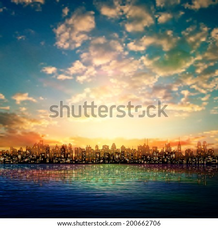 abstract nature background with panorama of city sunrise and clouds - stock vector