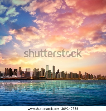 abstract nature background with panorama of Vancouver and pink clouds - stock vector
