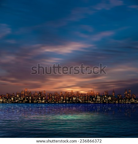 abstract nature blue background with panorama of city and clouds - stock vector