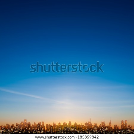 abstract nature blue background with silhouette of new york - stock vector
