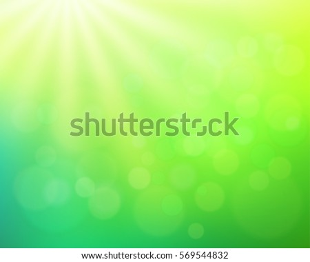 Abstract  nature blurred background with bokeh effect. Green gradient backdrop with sunlight. Ecology concept for your graphic design, banner or poster. Vector illustration.