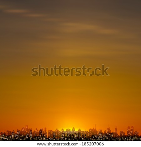 abstract nature brown background with silhouette of new york - stock vector