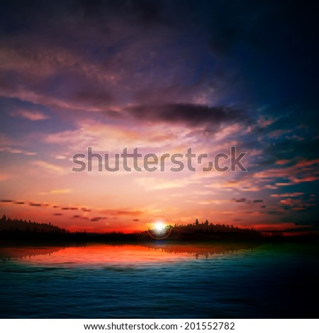 abstract nature dark background with forest lake sunrise and clouds - stock vector