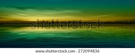 abstract nature green background with panorama of city and sunset - stock vector