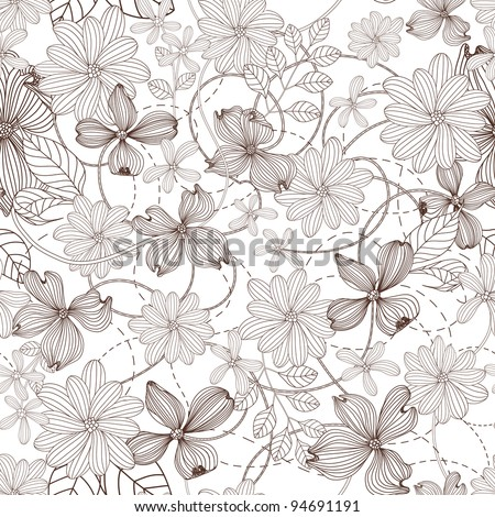 Abstract Nature Pattern with plants, flowers. Monochrome. Endless pattern can be used for wallpaper, pattern fills, web page background, surface textures. - stock vector