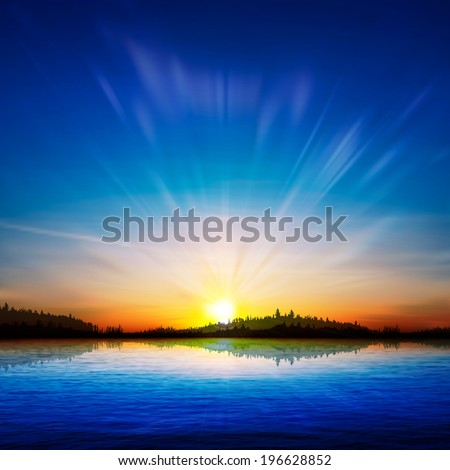 abstract nature sunrise background with forest and lake - stock vector