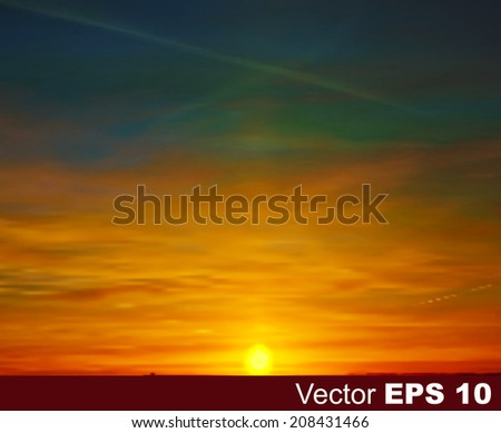 abstract nature vector background with golden sunset and clouds - stock vector