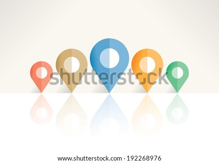 Abstract navigation map pin pointers with reflection. Idea - Navigation and cartography concept with copy space for your text - company address, travel information etc. - stock vector