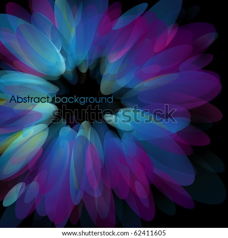 Abstract neon petals. Use for stylish design. Big copy space. Not cropped right side.  - stock vector
