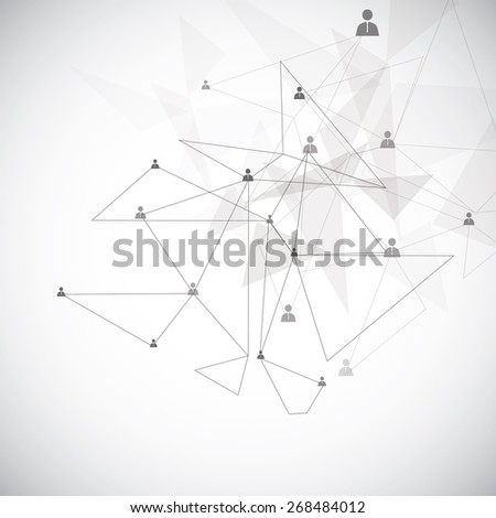 Abstract network concept on the gray backdrop - stock vector