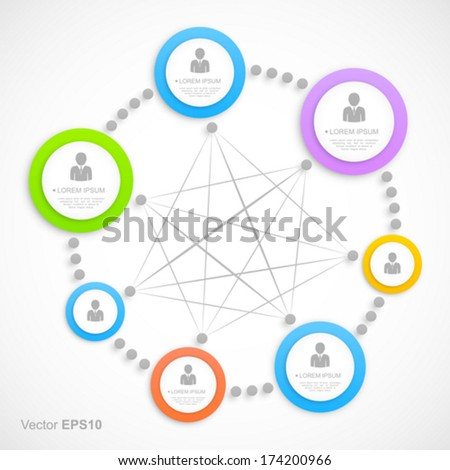Abstract network with circles. - stock vector