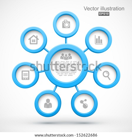 Abstract network with circles 3D. - stock vector