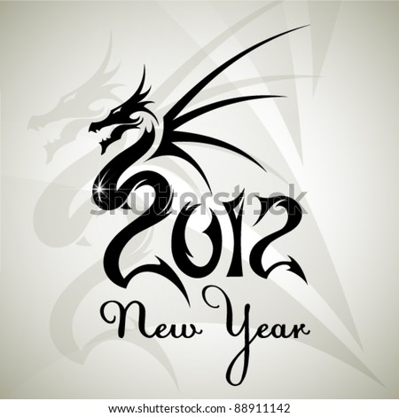 Abstract new year backgroun with dragon. Vector. - stock vector