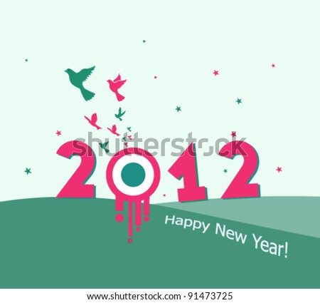 abstract new year background vector illustration with flying birds - stock vector