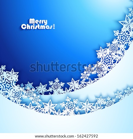 Abstract New year Background with paper snowflakes - stock vector