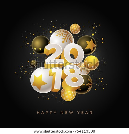 Abstract 2018 new year greeting card stock vector royalty free abstract 2018 new year greeting card design with 3d white black and gold christmas balls m4hsunfo