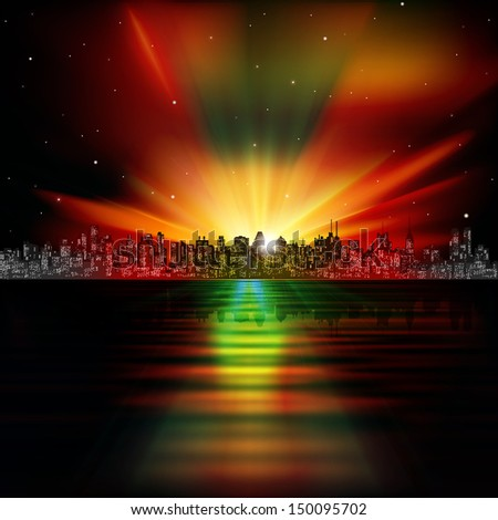 abstract night background with silhouette of city and sunrise - stock vector