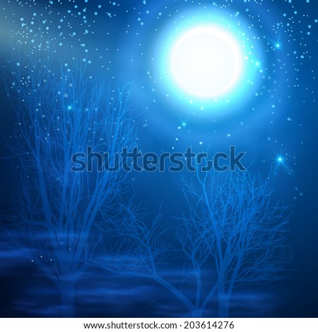 Abstract night landscape background. Vector illustration - stock vector