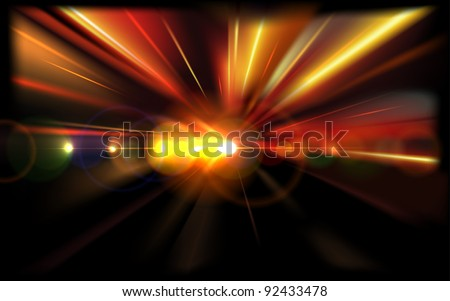 Abstract Night Road Lights. Vector Background - stock vector