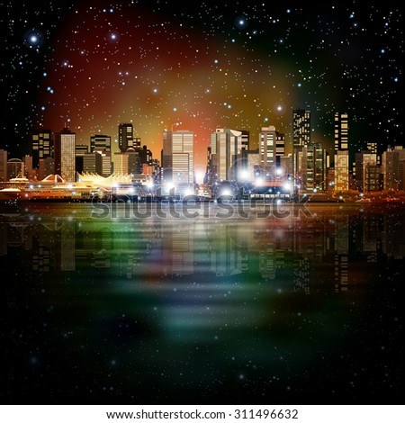 abstract night stars background with panorama of city - stock vector