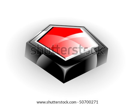 Abstract object. Beautiful 3d vector illustration in black and red.