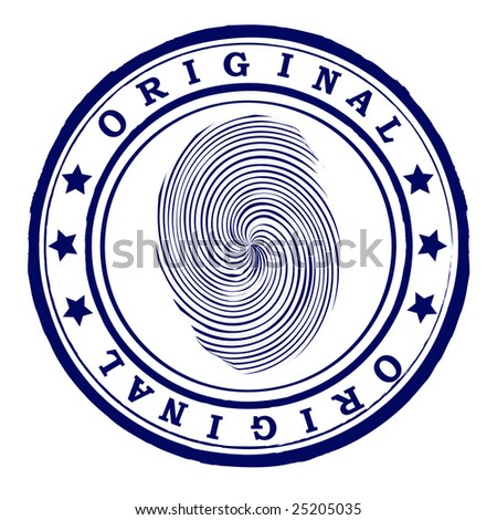 Abstract office rubber stamp with finger print - stock vector
