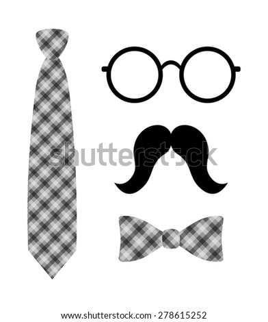 Abstract old fashioned hipster style set tie, bow tie, round eye glasses and mustache. black and gray plaid pattern simple graphic design, vector art image illustration, isolated on white background - stock vector