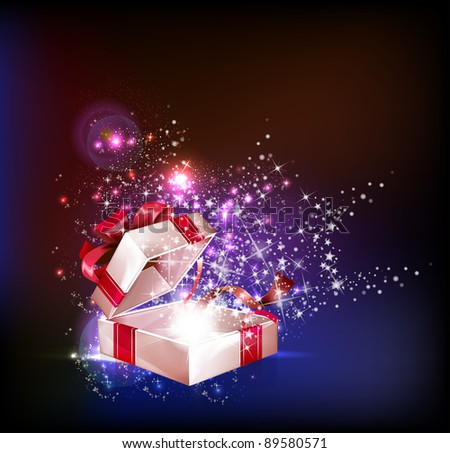 Abstract Open explore gift with stars vector background - stock vector
