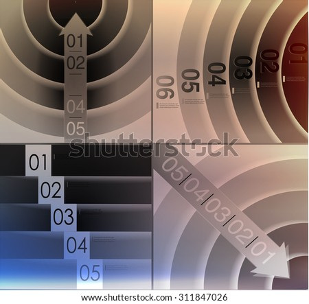 abstract  options on blur background, number line, can be used for website, info-graphics, number banner