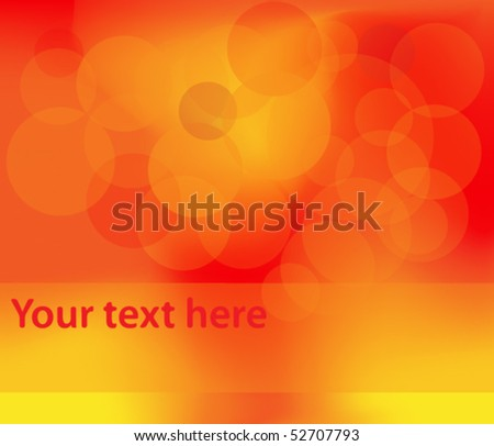 Abstract orange and red background with transparent circles - stock vector