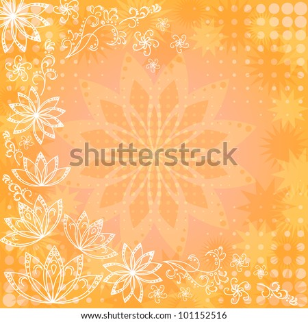 Abstract orange and yellow floral background: flowers silhouettes and white contours. Vector eps10, contains transparencies - stock vector