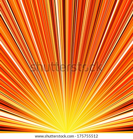 Abstract orange and yellow striped burst background. RGB EPS 10 vector illustration - stock vector