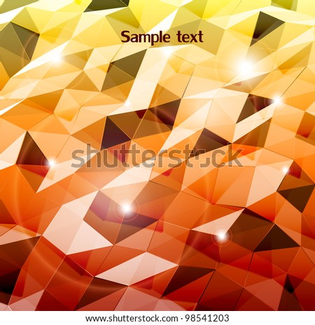 Abstract orange background. Combination of triangle. Vector - stock vector