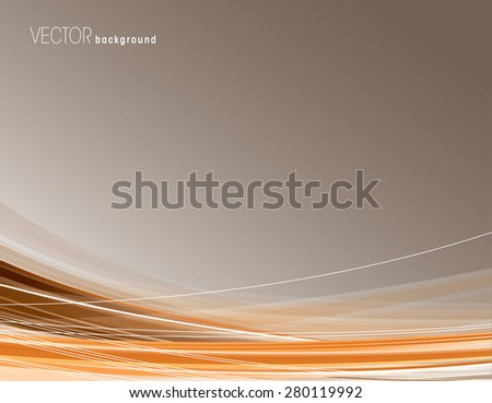 Abstract orange background with curved lines. - stock vector