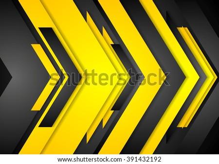 Abstract orange black tech arrows background. Vector graphic design - stock vector