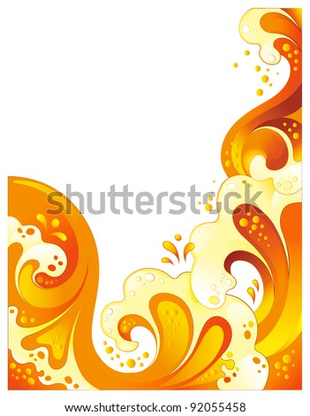 Abstract orange drink background. Curled splash juice isolated on white - stock vector