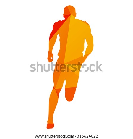 Abstract orange geometrical sprinter - stock vector
