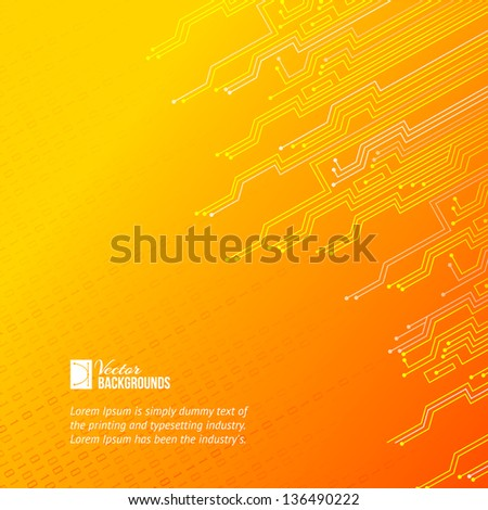Abstract orange lights background. Vector illustration, contains transparencies, gradients and effects. - stock vector
