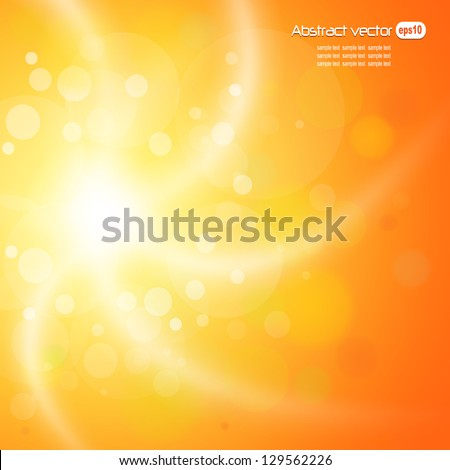 Abstract orange sunny background. - stock vector