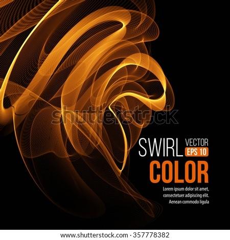 Abstract orange swirl background. Vector illustration EPS10 - stock vector