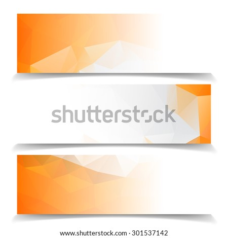 Abstract Orange Triangular Polygonal banners set - stock vector