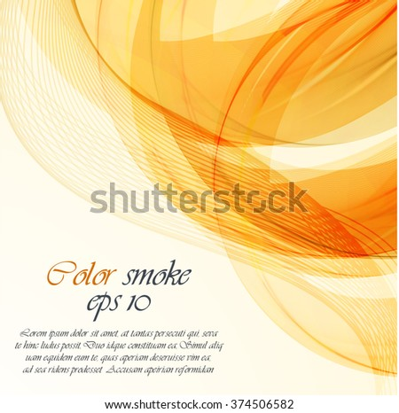 Abstract orange wavy background - stock vector