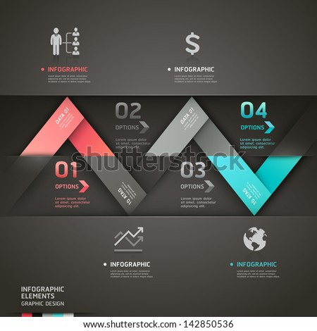 Abstract origami arrow infographics template. Vector illustration. can be used for workflow layout, diagram, number options, business step options, banner, web design - stock vector