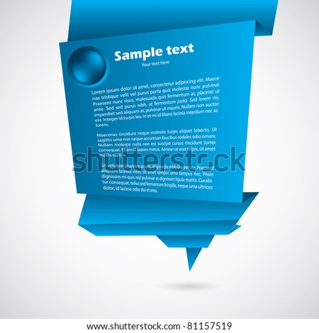Abstract origami background with text - stock vector